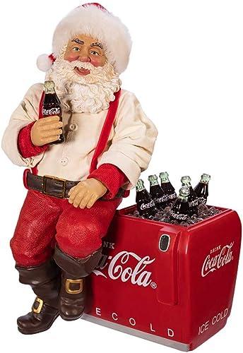 Kurt S. Adler Kurt Adler 10.5-Inch Coca-Cola Santa Sitting on Cooler Table Piece, Multi
