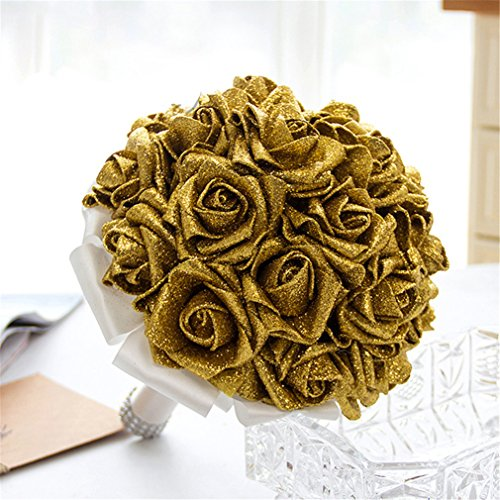 VolksRose Wedding Bouquet Sparkle Wedding Flowers with Crystals Soft Ribbons, Artificial Rose Flowers for Wedding, Bride Bridesmaid and Church (Gold)