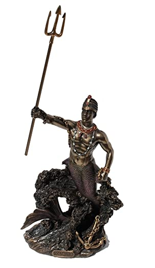 Olokun Owner Of The Deep Sea Statue, Cold Cast Bronze