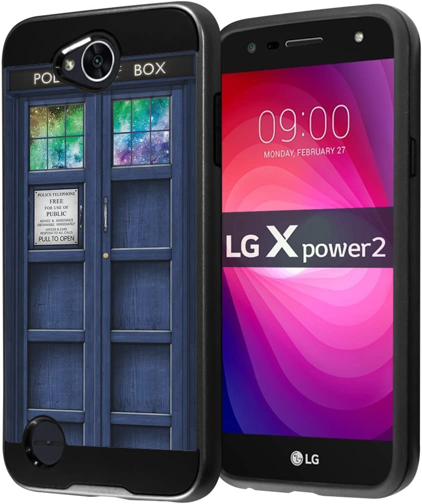 for LG X Power 2 Case, LG Fiesta LTE Case, LG X Charge Case, LG K10 Power Case, LG LV7 Case, Capsule-Case Hybrid Fusion Dual Layer Slick Armor Case (Black) - (Blue Phone Booth)