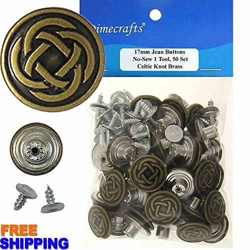 17 mm No-Sew Celtic Knot Brass 50 Jean Tack Buttons w/Tool