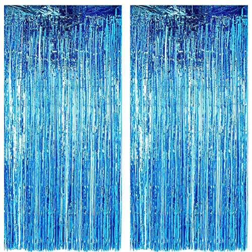 Gejoy 2 Packs Foil Curtains Metallic Tinsel Curtains Grad Party Fringe Curtains Laser Party Decor Curtains for Birthday Wedding Graduation Festival Party Photo Backdrops (Laser Blue)