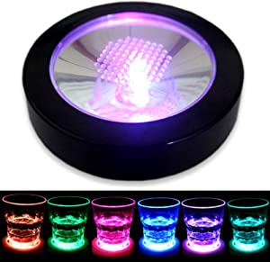 LED Coasters for Drinks, LAFEINA USB Rechargeable Light Up Coasters for Bar Beer Beverage, Wine Bottle Cup Luminous Mat Cup Holder for Party, Wedding, Bar Club (1 Pack, Black)
