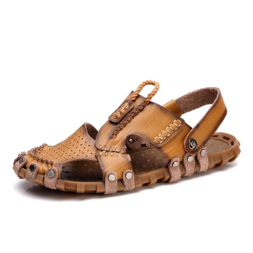 050464cc9514f1 Amazon.com  Men s Shoes Leather Sandals Spring Summer Comfort Light Soles Sandals  Walking Shoes Men Outdoor Travel Beach Shoes (Color   Brown