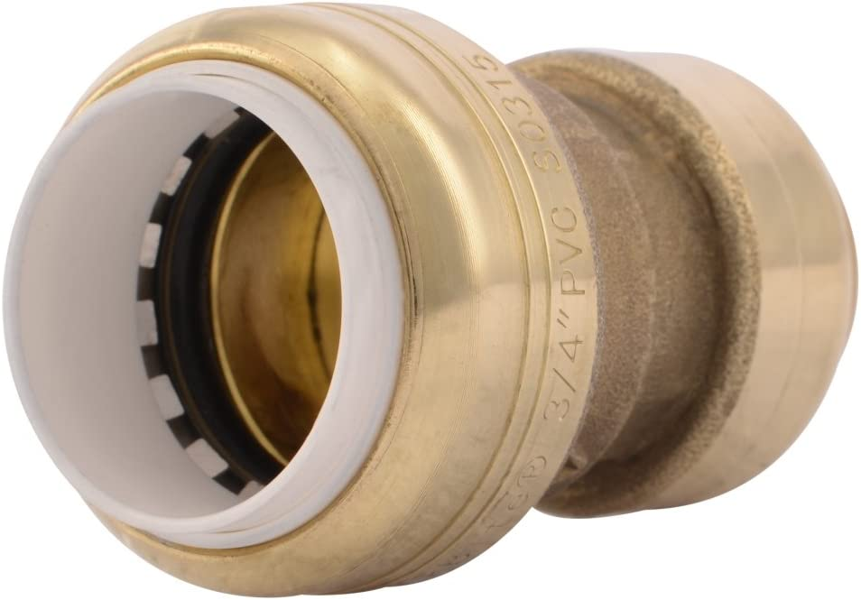 "Sharkbite UIP4016 3/4"" Brass Push-To-Connect PVC IPS x CTS Conversion Coupling"