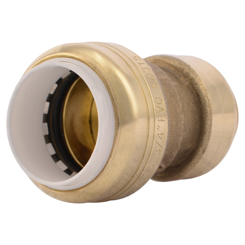 SharkBite PVC Fitting UIP4016A 3/4 inch X 3/4 inch CTS, PVC Connector to Copper, PEX, CPVC, HDPE or PE-RT for Potable Water by SharkBite