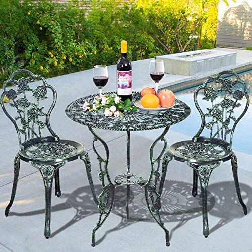 Giantex 3 Piece Bistro Set Cast Rose Design Antique Outdoor Patio Furniture Weather Resistant Garden Round Table and Chairs w/Umbrella Hole (Rose Design) (Patio Breakfast)