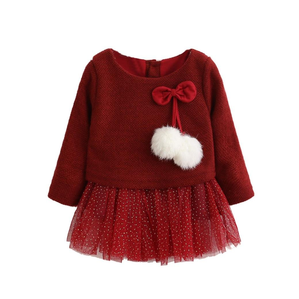 Tenworld Newborn Baby Girls Long Sleeve Bow Knitted Tutu Princess Dress 0-24M
