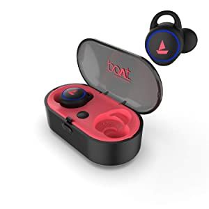 boAt Airdopes 311v2 True Wireless Earbuds (Bluetooth V5.0) with HD Sound and Sleek Design, Integrated Controls with in-Built Mic and 500mAh Charging Case (Raging Red)