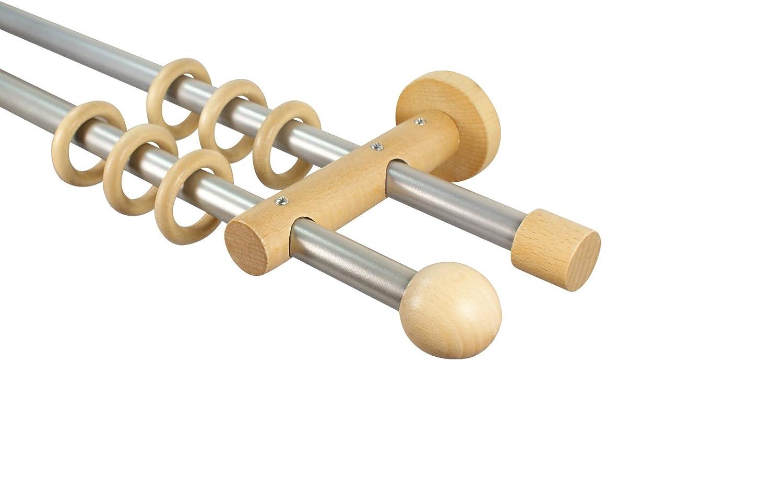 Gardinenstangen 2-l/äufig 16 mm aus Metall und Holz Alu//Buche Endst/ück Kugel 120 cm