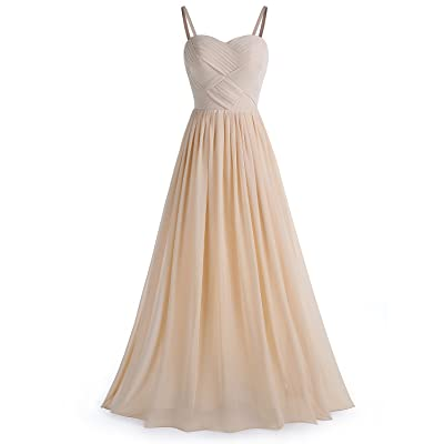 BeryLove Women's Pleats Bridesmaid Dress Long Chiffon Party Gown with Detachable Straps