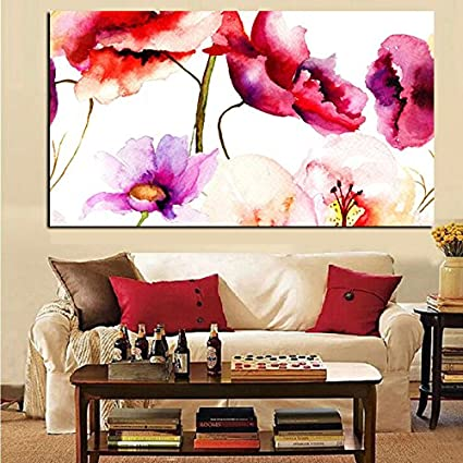 Amazon.com: ALENIS Large size Abstract Watercolor Floral Flower ...