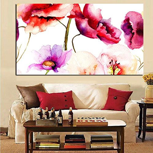 ALENIS Watercolor Floral Flower Canvas Painting Modern