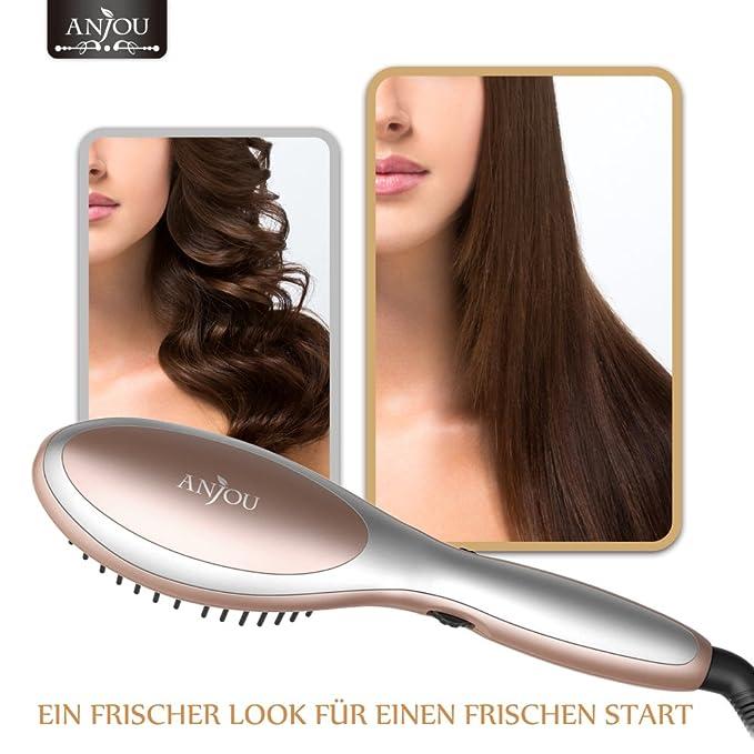 Anjou pelo alisado Cepillo con función rotatoria para todos los Type pelo: Amazon.es: Salud y cuidado personal