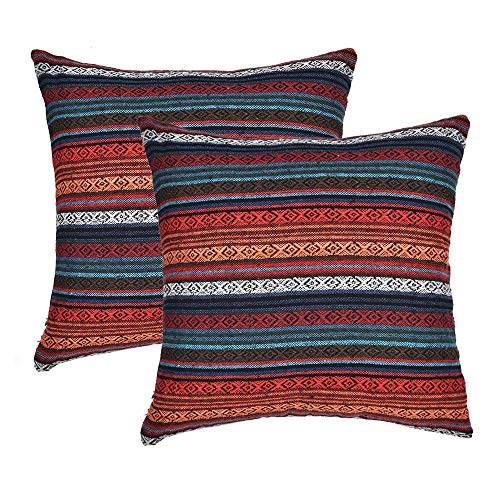 Merrycolor Decorative Throw Pillow Cover for Couch Sofa Bed Set of 2 Bohemian Retro Stripe Cotton Pillowcase Blend Linen Cushion Cover 18 x 18 Inch Red (Only Pillow Cover) (6 Pack) (Moroccan Sets Bed)