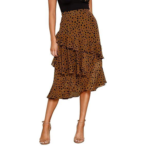 QIjinlok Falda Leopardo Mujer Midi Falda asimétrica con Volantes y ...