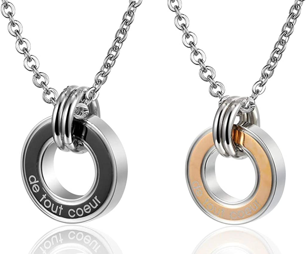 MoAndy Pendant Necklace with Stainless Steel Chain Stainless Steel Necklace Unisex Pendant Necklace Rings de Tout Coeur Engraved
