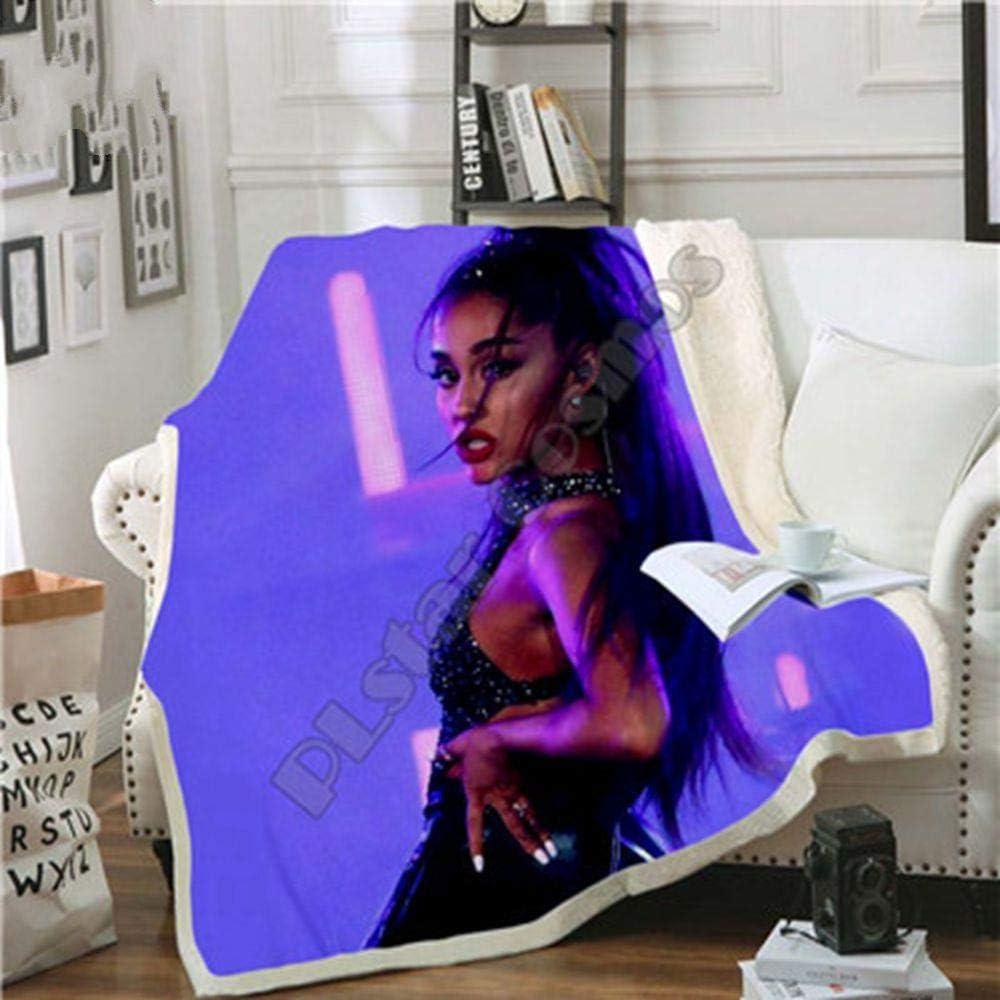 13 130x150cm Brun Soode Celebrity Ariana Grand Design 3D de Couverture en Peluche imprim/ée pour Les Adultes canap/é Sherpa Fleece Couvre-lit en Microfibre