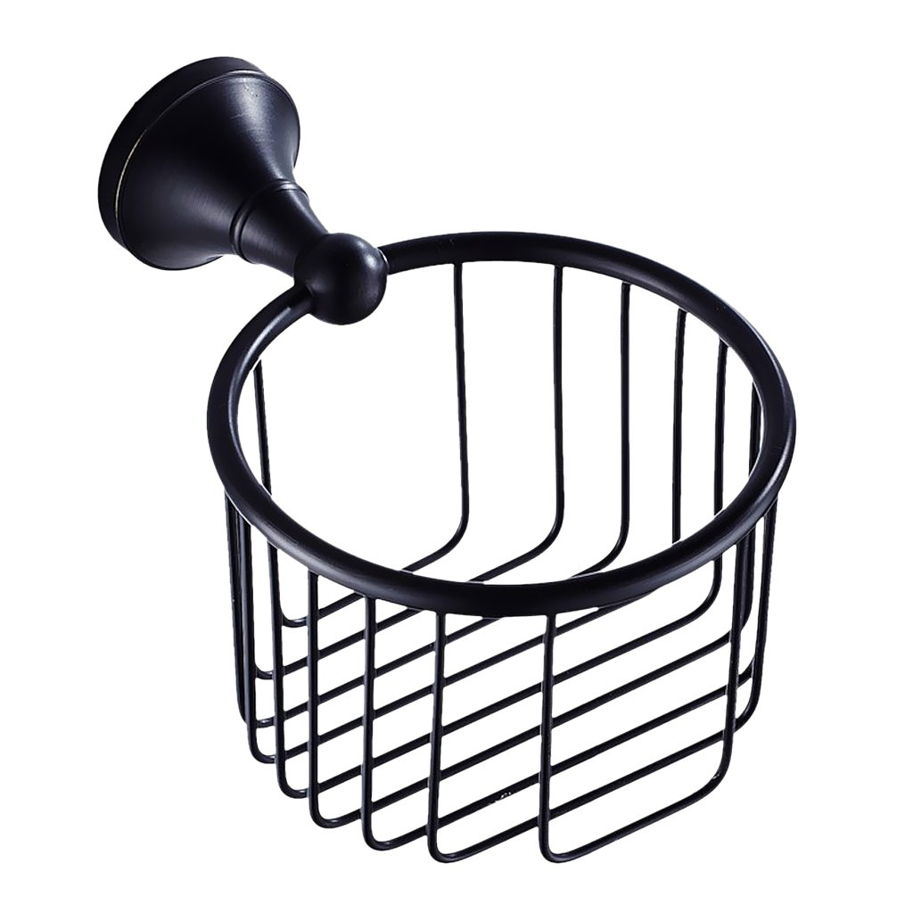 MonkeyJack Bath Accessories Oil Rubbed Bronze Finish Toilet Paper Roll Holder Basket Tissue Basket Black