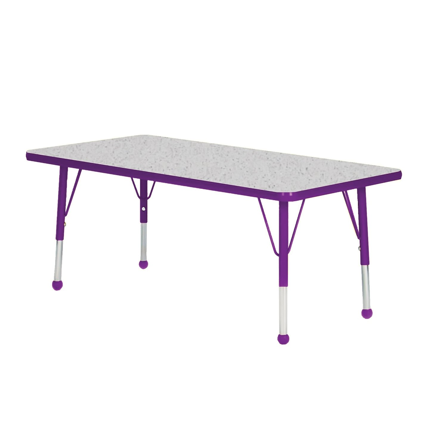48'' x 30'' Rectangular Classroom Table Side Finish: Purple, Table Size: Standard 21''-30'' Self-leveling nickel glide, Top Color: Gray Nebula