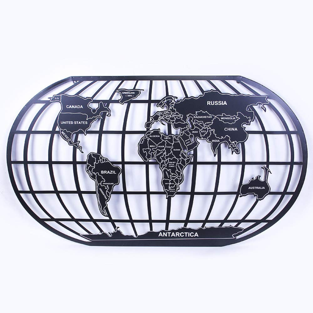 nouler World Map Office Wall Decoration Iron Art Industrial Wind Ornaments Creative Pendant,Black,S