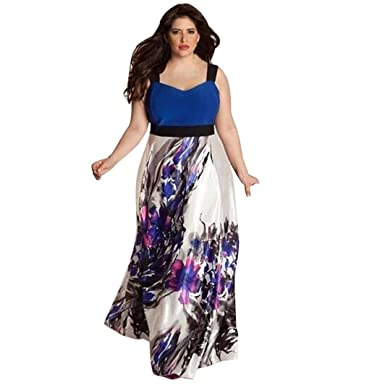 Women Dress, Familizo Plus Size Floral Printed Long Prom Gown Formal Dress (L,