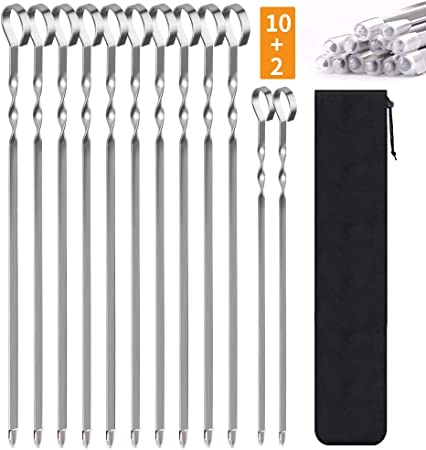 Stainless Steel BBQ Skewers Set Wooden Handle Metal Grilling Skewers for Shish Vegetables and More 10 Packs Reusable BBQ Sticks