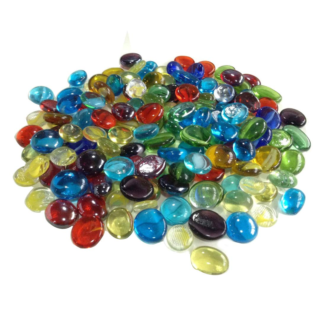 ECYC® 50pcs/lot Mulicolor Stone Glass Goldfish Bowl Flat Beads for Fish Tank Flowerpot Decoration,14mm TM