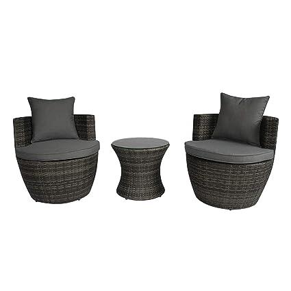 Prime Charles Bentley 3 Piece Rattan Stacking Outdoor Patio Furniture Set Grey Evergreenethics Interior Chair Design Evergreenethicsorg