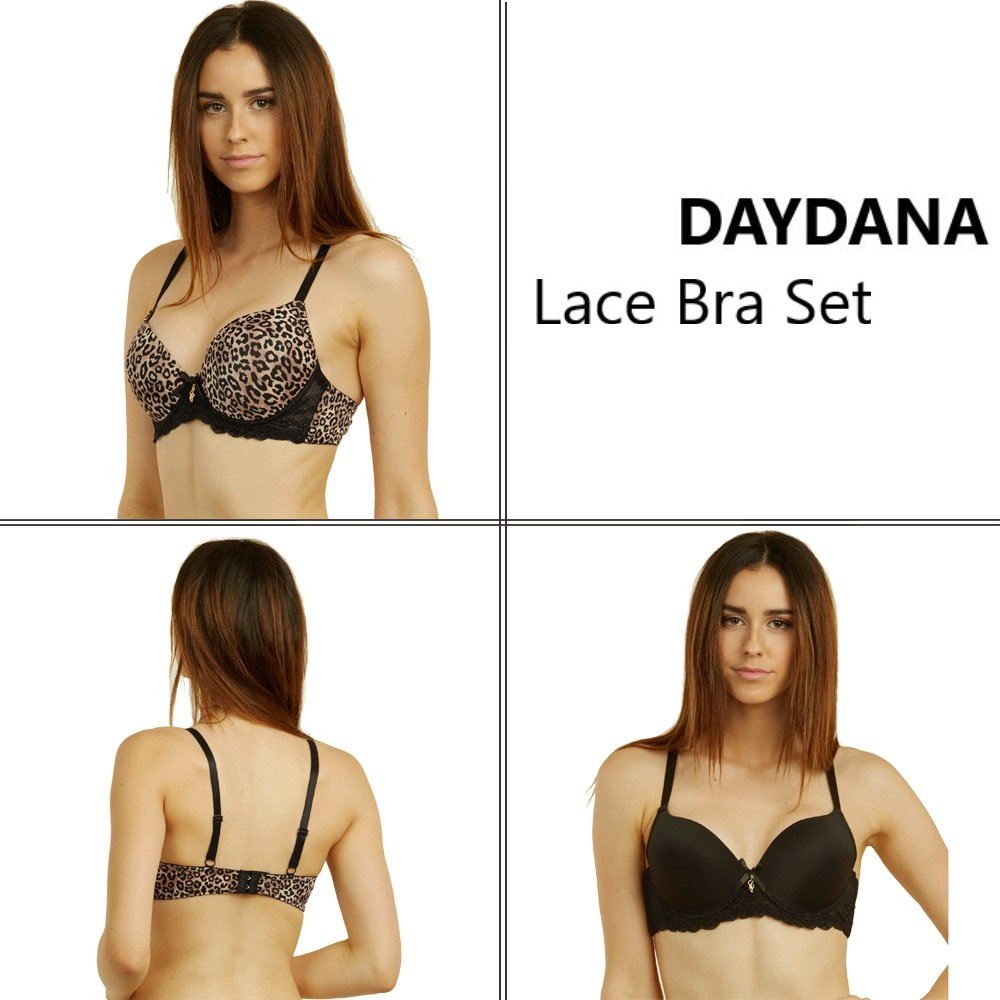 33dd9530f2 Daydana 6 Pack of Womens Full Cup Bra Plain and Leopard Print Black at Amazon  Women s Clothing store