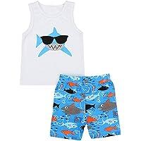 SiQing Simple Joys Conjunto de Ropa para niños y bebés, 2 Piezas, Chaleco Estampado + Pantalones Cortos, Ropa para niño