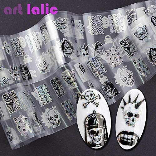 100x4cm Punk Style Zombie Design Nail Foil Stickers Glue Transfer King Skull Head Cute Nail Design Halloween Decoration]()