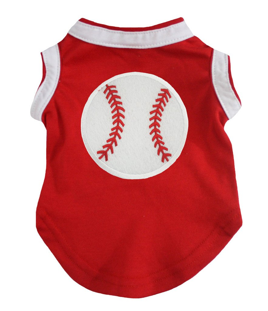 Petitebella Puppy Clothes Dog Dress Baseball Red White Cotton T-Shirt (Small)