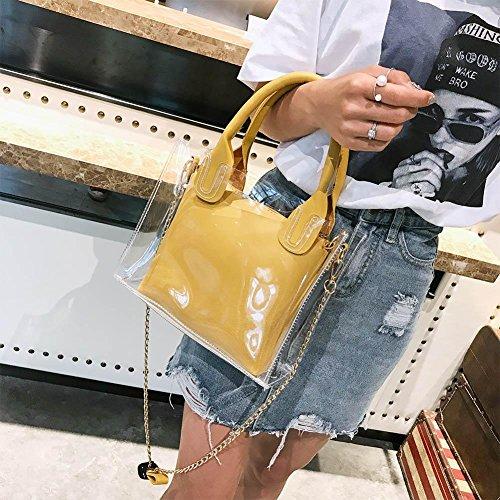 Plage Décontractée à Messager de Main Jaune PVC Sacs Femmes Demiawaking Sac Bandoulière claire avec Transparent Sacs Chaîne en Mode gelée 6C1wq6EZ