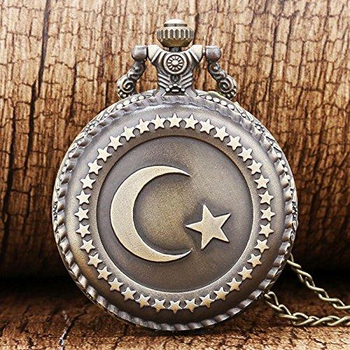 Antique Circle Moon Star Turkey Flag Bronze Quartz Pocket Watch for Men and Women (Flag Dial Bezel)