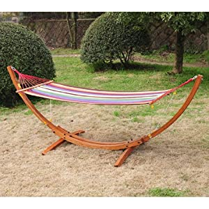 Wood Hammock Stand With Canopy