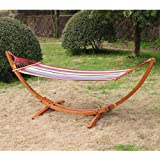 Outsunny Single Wood Arc Outdoor Hammock & Stand Set