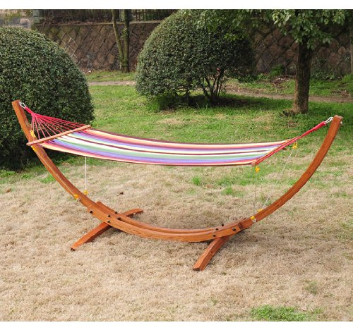 Outsunny Single Wood Arc Outdoor Hammock & Stand Set by Outsunny
