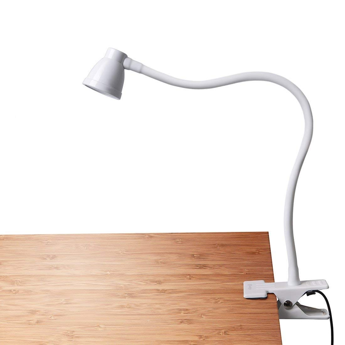 CeSunlight Clip on Reading Light, Clamp Lamp for Desk, 3000-6500K Adjustable Color Temperature, 6 Illumination Modes, 10 Led Beads, AC Adapter and USB Cord Included (White) A8-White