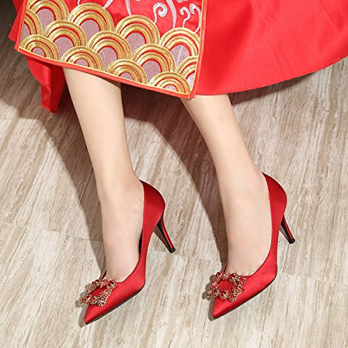 Womens Sexy Strass High Heels Sommer SandalenArbeits Pumps Damen Elegante Brautjungfer Spitz Schuhe Red8CM