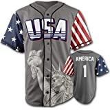 6a24fa35e Greater Half Custom Baseball Jersey Button Down USA Grey America #1  (Small-4XL