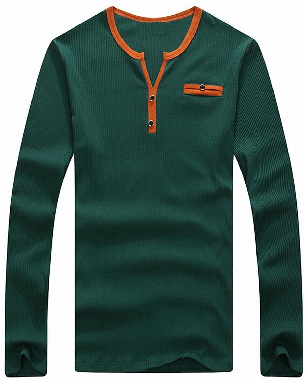 Yayu Men Casual Button Open Neck Long Sleeve T-shirt