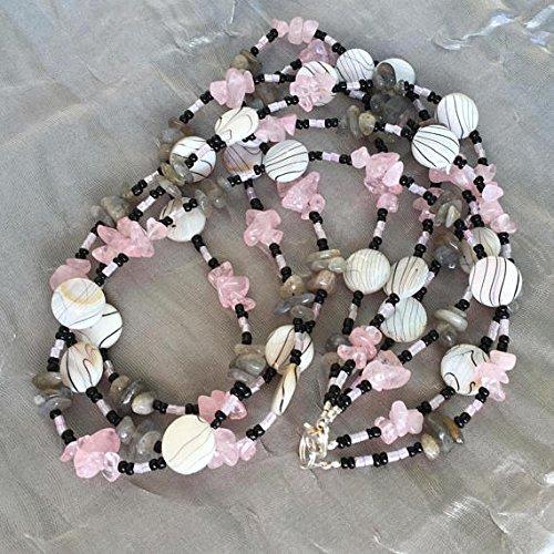 "20"" Triple strand bohemian necklace, Pale pink white grey, Semiprecious natural labradorite rose quartz MOP, Stone nuggets, OOAK artisan"
