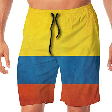 Amazon Com Amayc Pantalones Cortos Para Hombre Diseno De Bandera De Colombia L Clothing