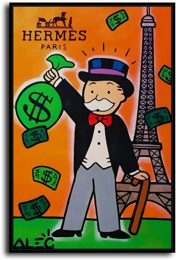 New Dream Art Pinturas al óleo de Alec Monopoly, pintadas a Mano, para decoración de Pared del hogar, Arte en Lienzo, Hermes París, 24 x 36 Pulgadas, sin Marco: Amazon.es: Hogar