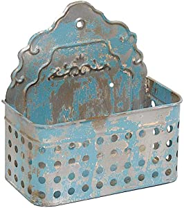 """Antique Blue Wall Planter Hanging Metal Bucket Container Organizer for Flowers Succulent Air Decorative Plants Tools Distressed Indoor or Outdoor 9"""" x 8.5"""