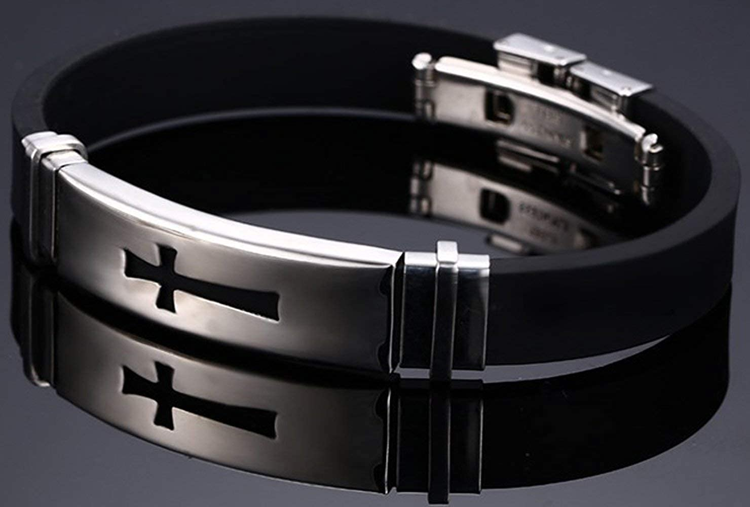 YABINI Mens Fashion Titanium Steel Buckle Cross Tag Silica Gel Cuff Bracelet