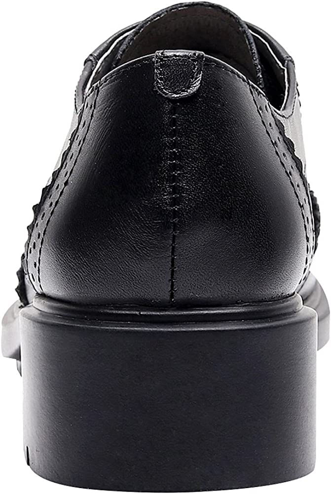 ggudd Womens Brogue Classic Low Heel Round Toe Lace Up Oxfords Shoes