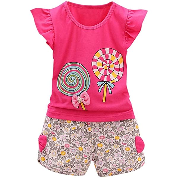 kaiCran 2PCS Set Toddler Kids Baby Girls Outfits Clothes Flower Crystal T-Shirt Tops+Floral Print Skirt 1-6 T