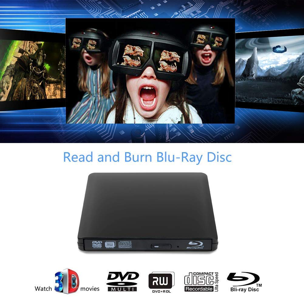 External 4K 3D Blu Ray DVD Drive Burner, Portable Ultra Slim USB 3.0 Blu Ray BD CD DVD Burner Player Writer Reader Disk for Mac OS, Windows 7/8/10,Linxus, Laptop by MOGLOR (Image #2)